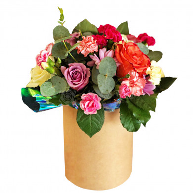 """Цветы в коробке """"Романтичный микс"""""""